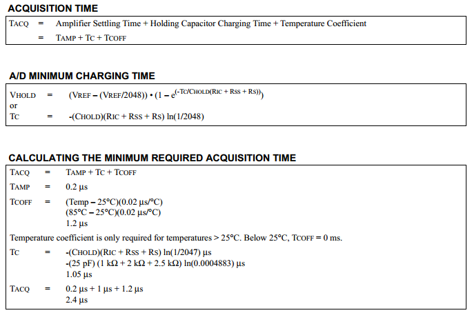 18 Series Microchip - Datasheet Analogue Acquisition Time Calculations
