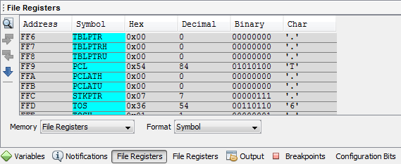 MPLAB - Simulation - File Register View