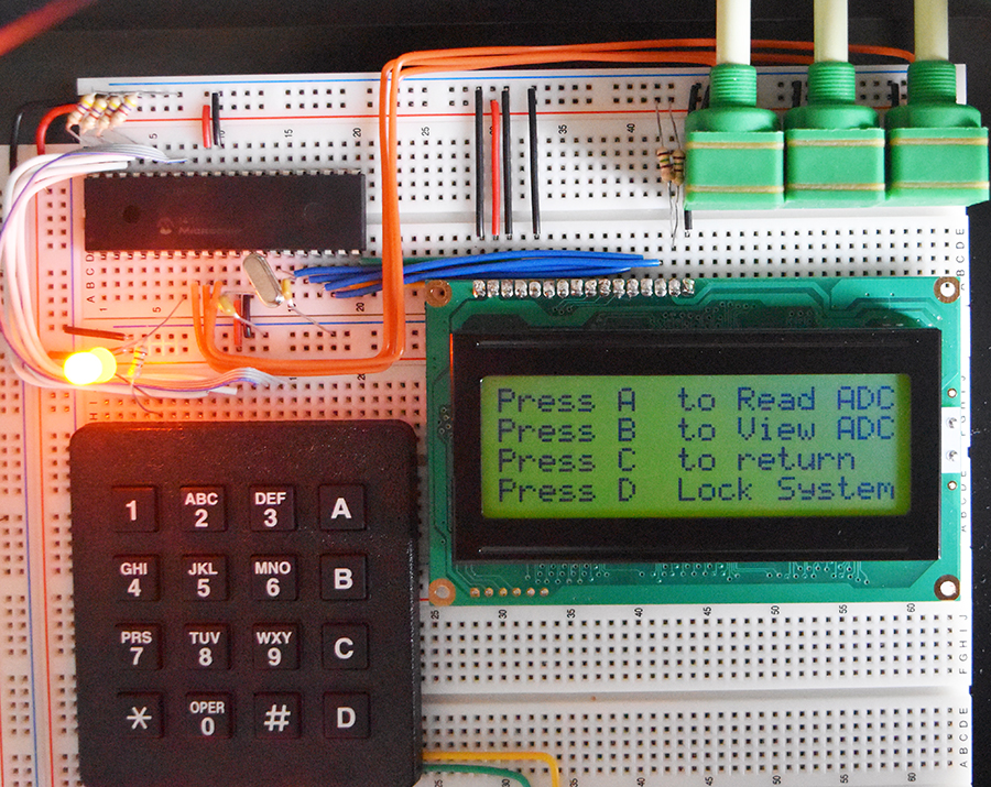 16F887 Reading Analogue, Keypad and Display on LCD