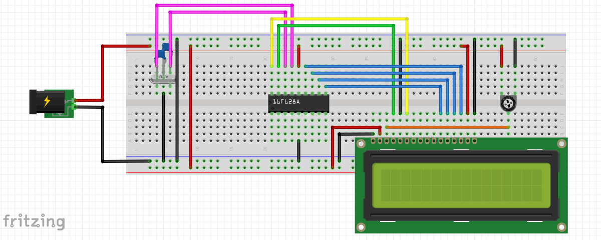 16F628A on breadboard to Character LCD 4-bit Operation