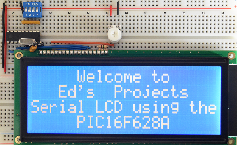 Serial Character LCD - working example on breadboard