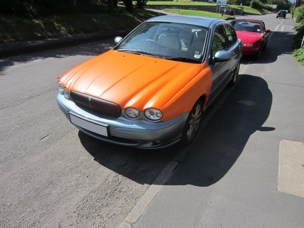 Jaguar X-type attempt at vinyl wrapping