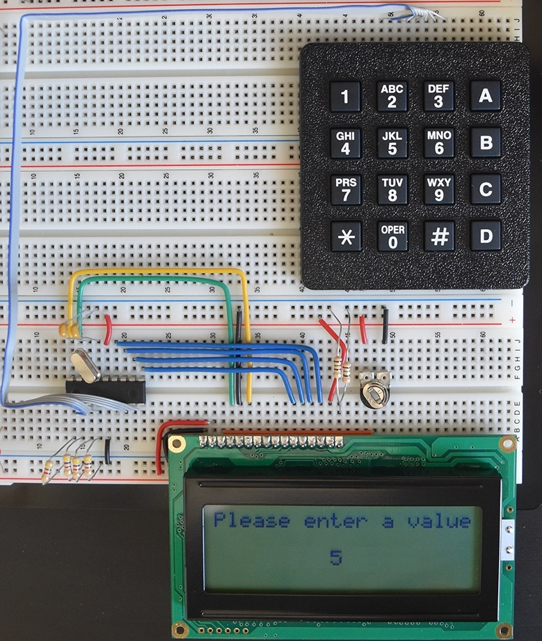 Breadboard Layout of 16F628A, keypad and LCD
