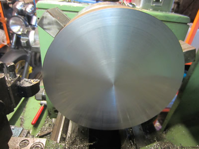 200mm steel plate faced in lathe